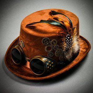 Steampunk Women Victorian Top Hat Goggles - Brown